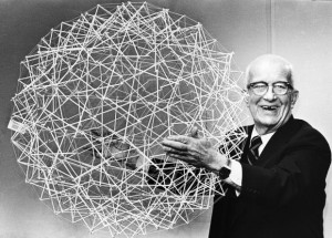 from PBS.org - R. Buckminster Fuller holds up a Tensegrity sphere. 18th April, 1979